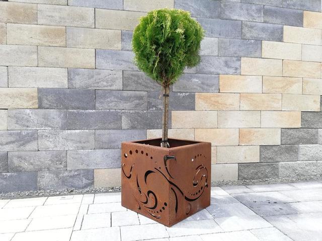 Cortenový obal na kvetináč Guba design